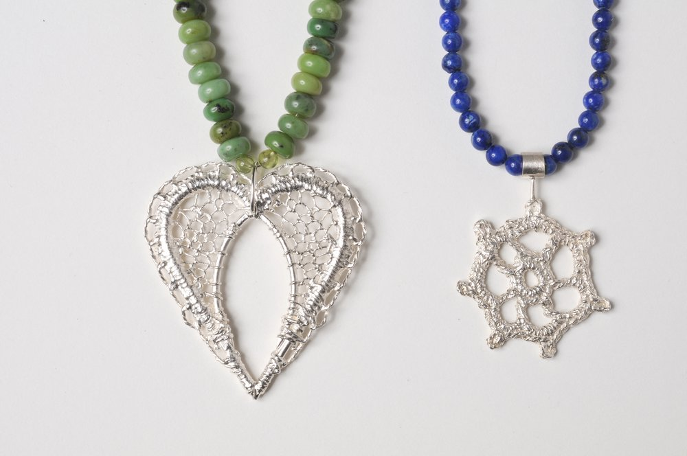 Archive: Silver heart and Nautical Pendants with semi precious stones. (2010)