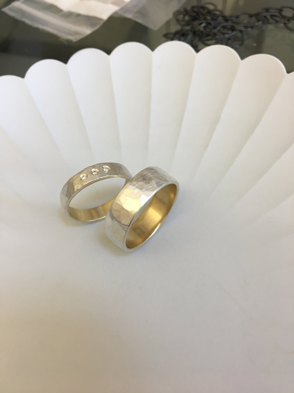 Remodel: Silver and Gold Wedding rings with three Diamonds to clients design. 2017