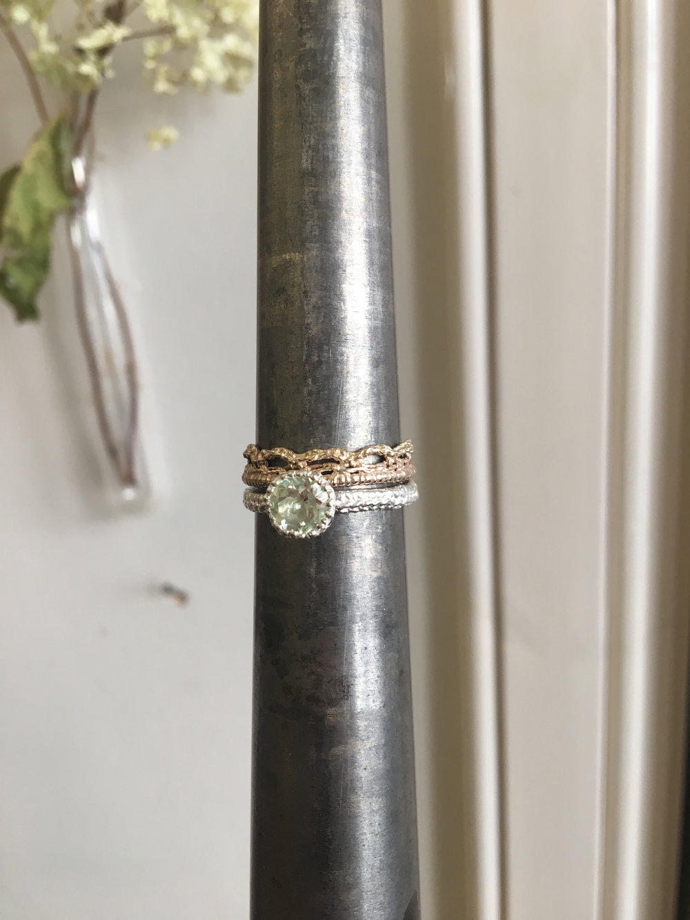 Silver and Green Amethyst Grace Ring with Gold Crown Ring (2017).