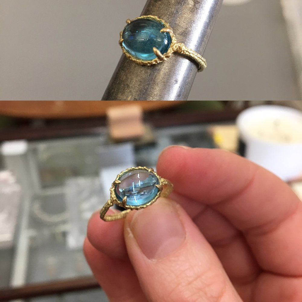 Gold and Topaz Oval Stitch Claw Ring. 2016