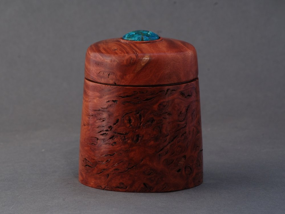 Jarrah Burl and Chrysocolla Box - $120