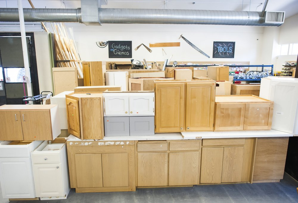 CABINETS   Our cabinets are ready to install in your kitchen, utility room, or bathroom. Find the perfect cabinets for your own DIY or home improvement project. All cabinets must be in good condition.