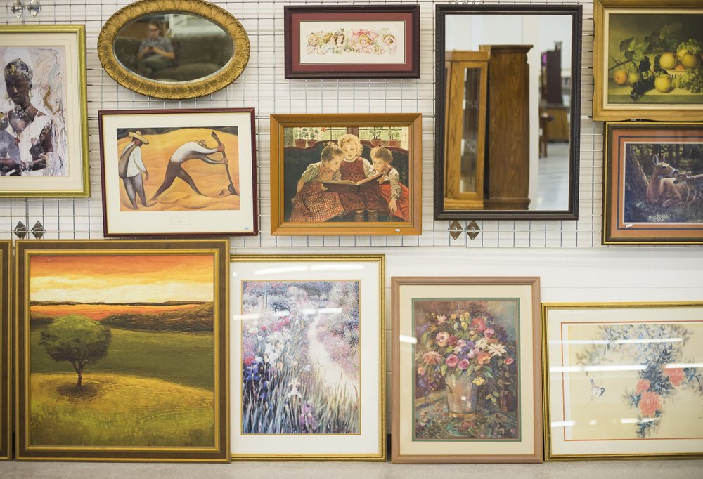 HOUSEHOLD ITEMS   We carry a wide variety of pictures, art pieces, silverware, dishware, home decor, and much more. Find our largest collection of these items at our Lakewood store.