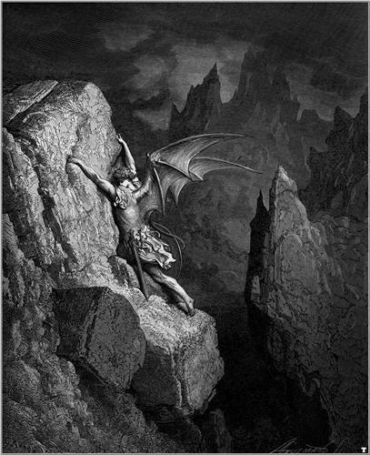 Gustave Doré,Satan's Flight Through Chaos, 1868