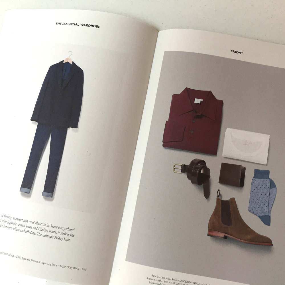 Spread detail with excellent styling that looks effortless.Sunspel A/W 2016 Collection. A5 mailer (courtesy of Sunspel)