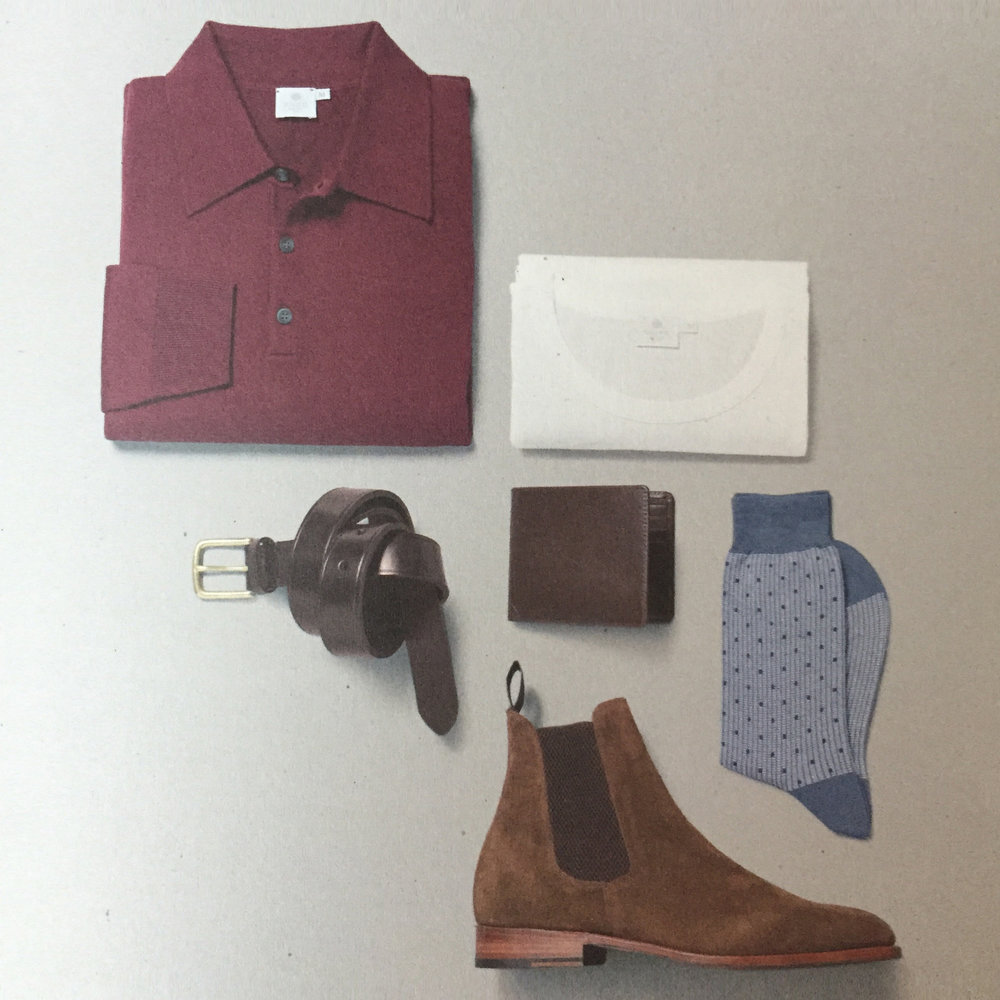 Probably took all morning to set up but looks brilliantly simple and understated.Sunspel A/W 2016 Collection. A5 mailer (courtesy of Sunspel)