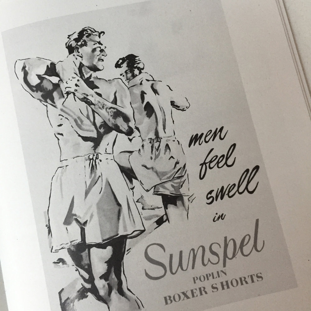 Detail of an old advert from the late 1940's.Sunspel A/W 2016 Collection. A5 mailer (courtesy of Sunspel)