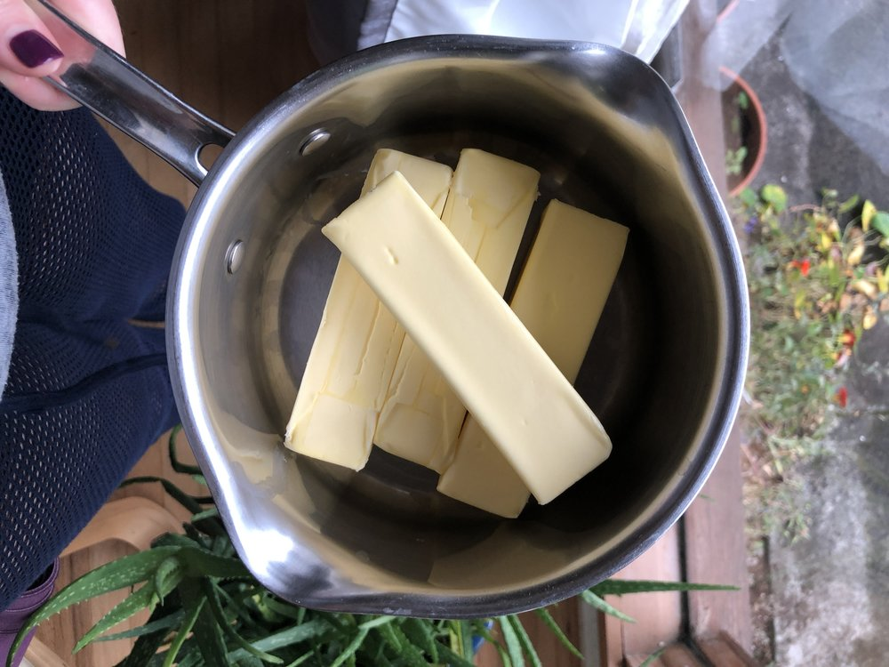 Step 2 - Place butter in a saucepan and put on your stove over medium heat. Once the butter is completely melted, lower the heat to medium-low