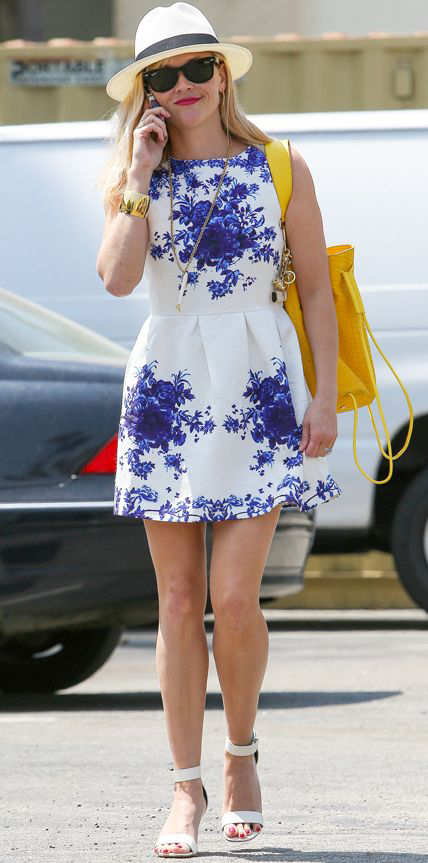Reese Witherspoon Blue and White Dress