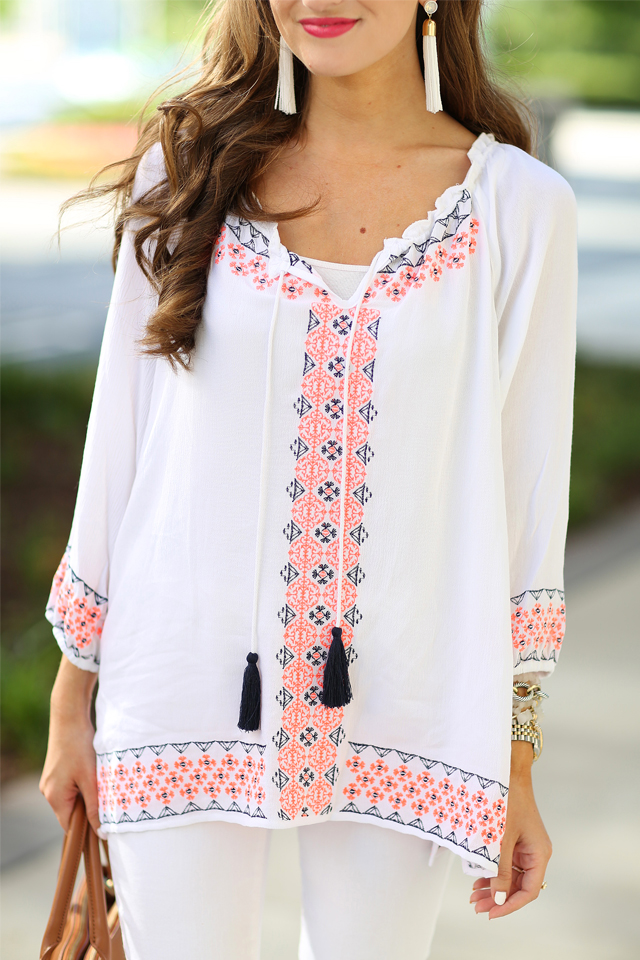 neon embroidered tassel top