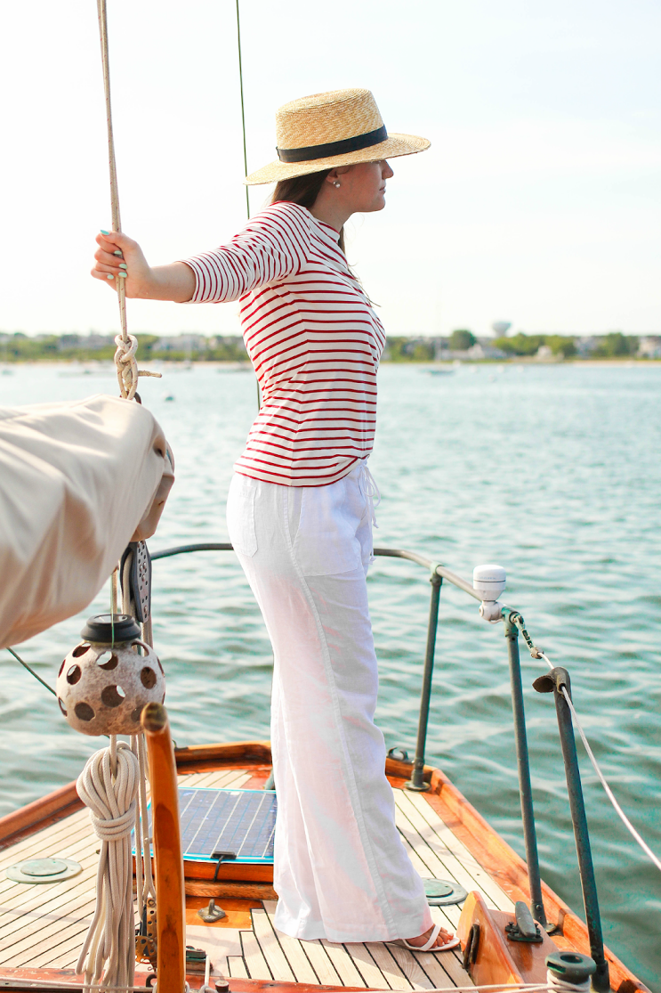 white linen pants outfit