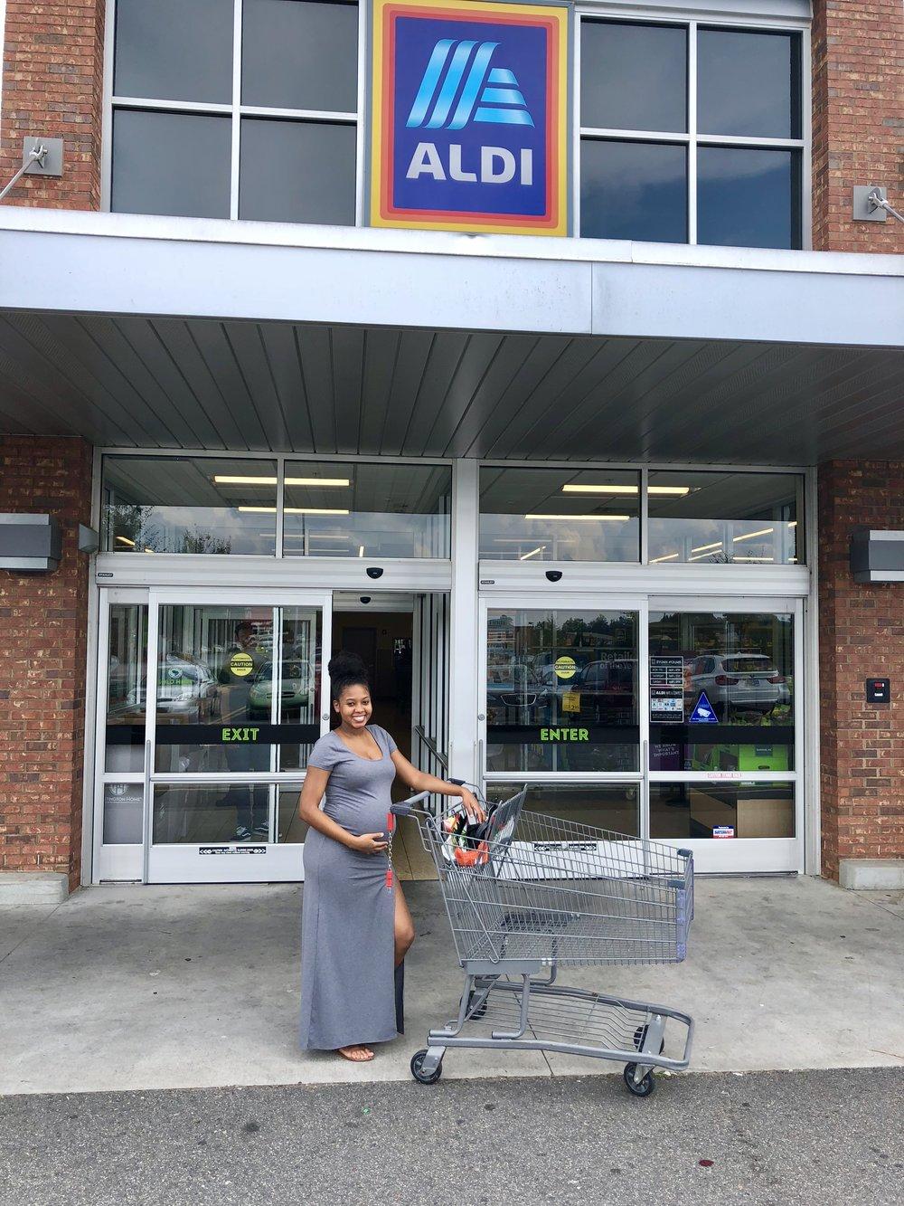 Just Being Britt Brittany Jenkins Charlotte Blogger Influencer Shopping at Aldi