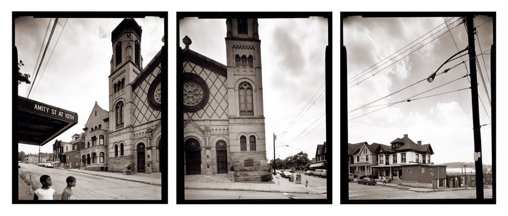 "St. Mary's Church dominates a corner in Homestead, PA., a community that experienced dramatic change after the closing of a local steel mill. Click the image to learn more about the book, ""After the Smoke Clears."""