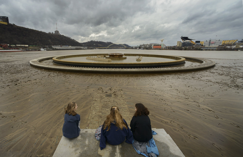 Mud covers Pittsburgh's Point after flooding.