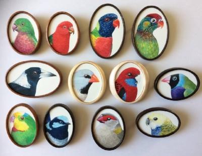 Tiny bird portrait brooches