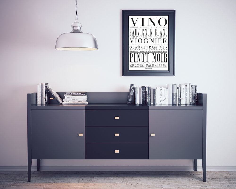 Typography Wine and Vino Canvas Art Print by The Savvy Heart
