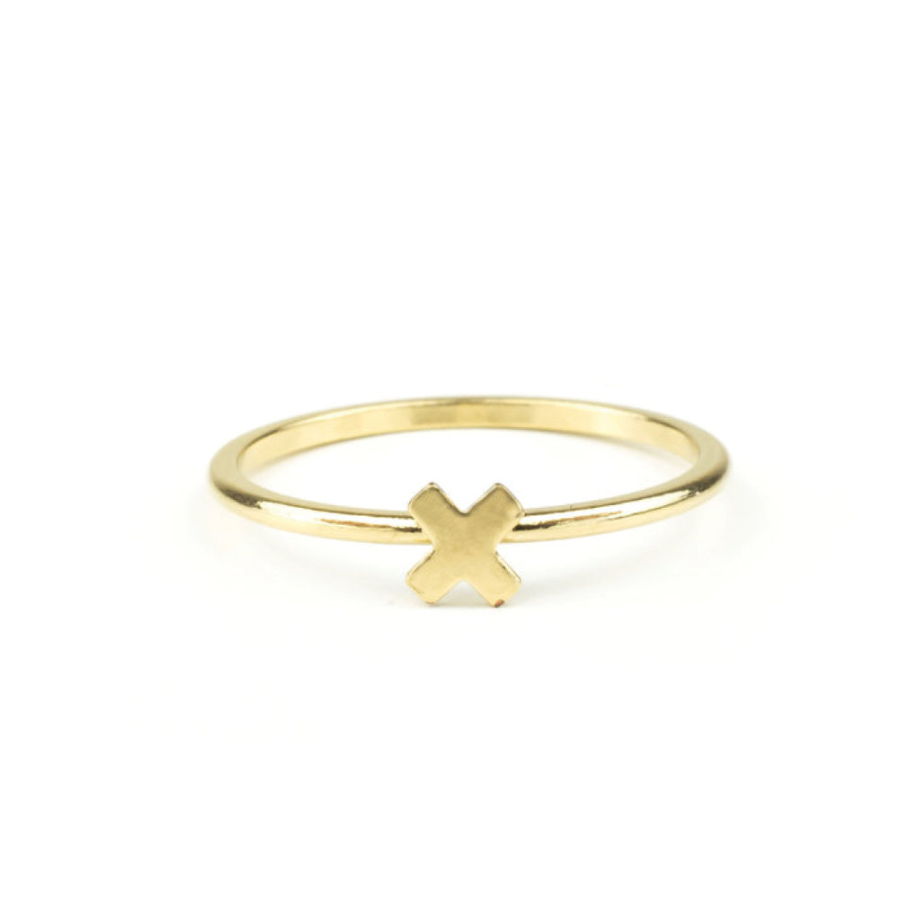 Gift Guide for Her- 2016 - Minimalist X Shaped Ring in Heavy Gold PLated