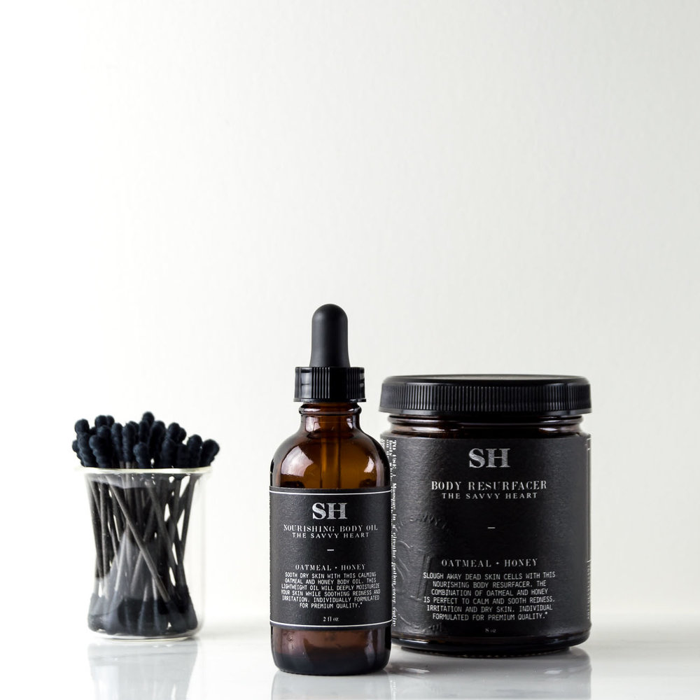 Modern Apothecary collection with dramatic black labels by The Savvy Heart