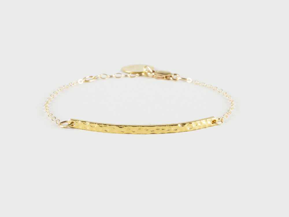 Simple hammered bar bracelet on dainty gold filled chain by The Savvy Heart