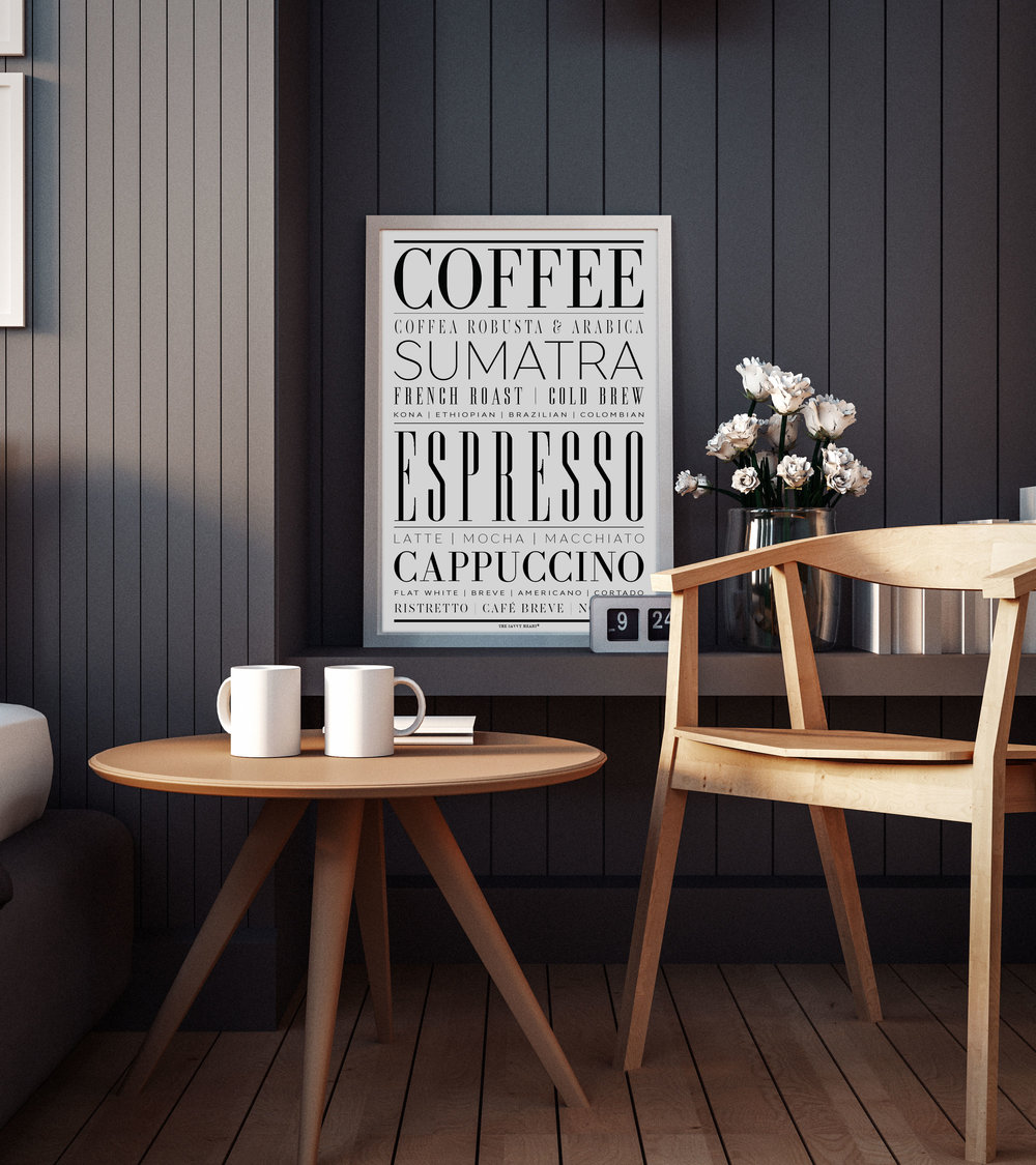 Kitchen and Bar Wall Decor- Coffee and Espresso Canvas Art Poster by The Savvy Heart