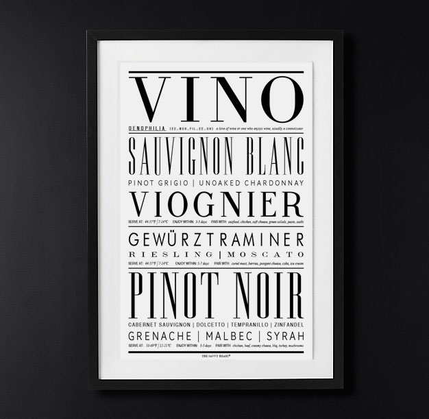 Kitchen Wall Art - Types of Wine Art Print with Black and white typography by The Savvy Heart