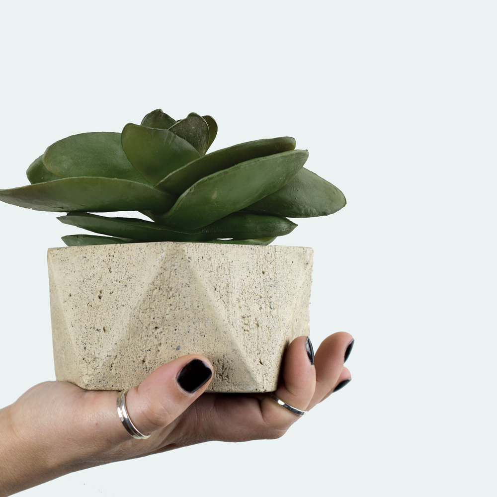 Valentine's Day Gifts For Her- Industrial Geometric Concrete Planter by The Savvy Heart
