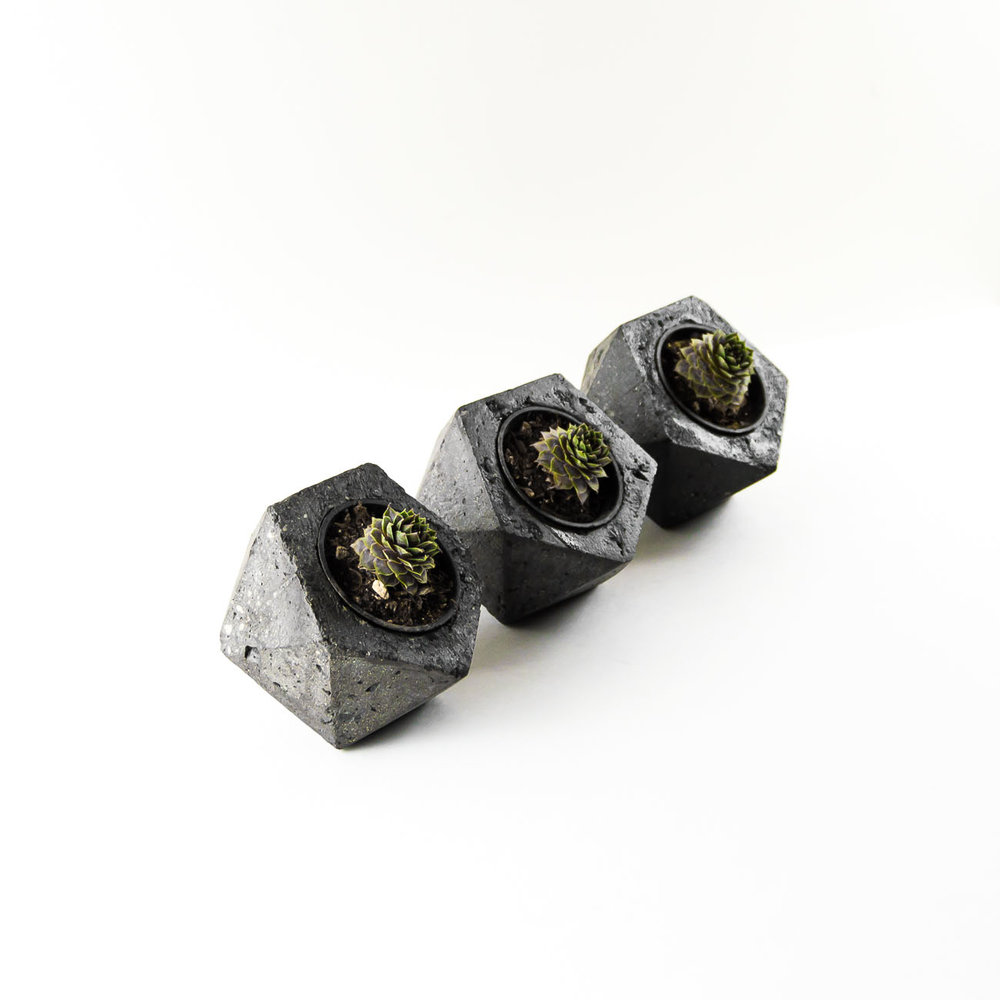 Valentine's Day Gift Ideas for Him -Industrial geometric concrete planter dish by the savvy heart