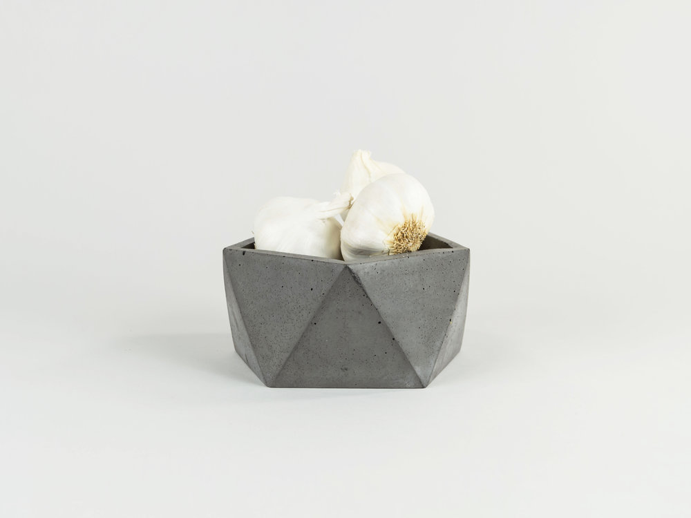 Modern Geometric shaped concrete dish with garlic by The savvy Heart