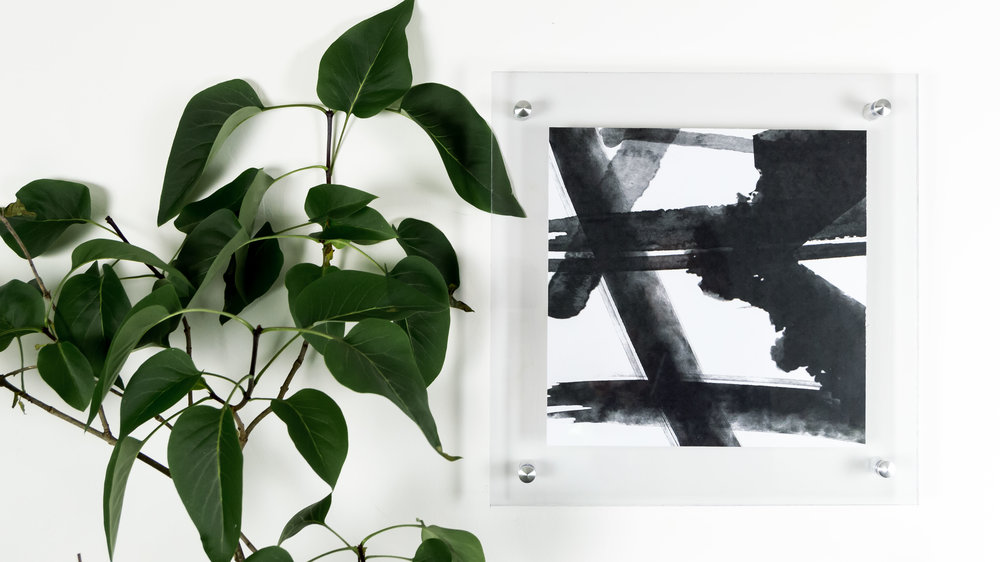 Free Printable Black and White Abstract Art in a modern acrylic floating frame