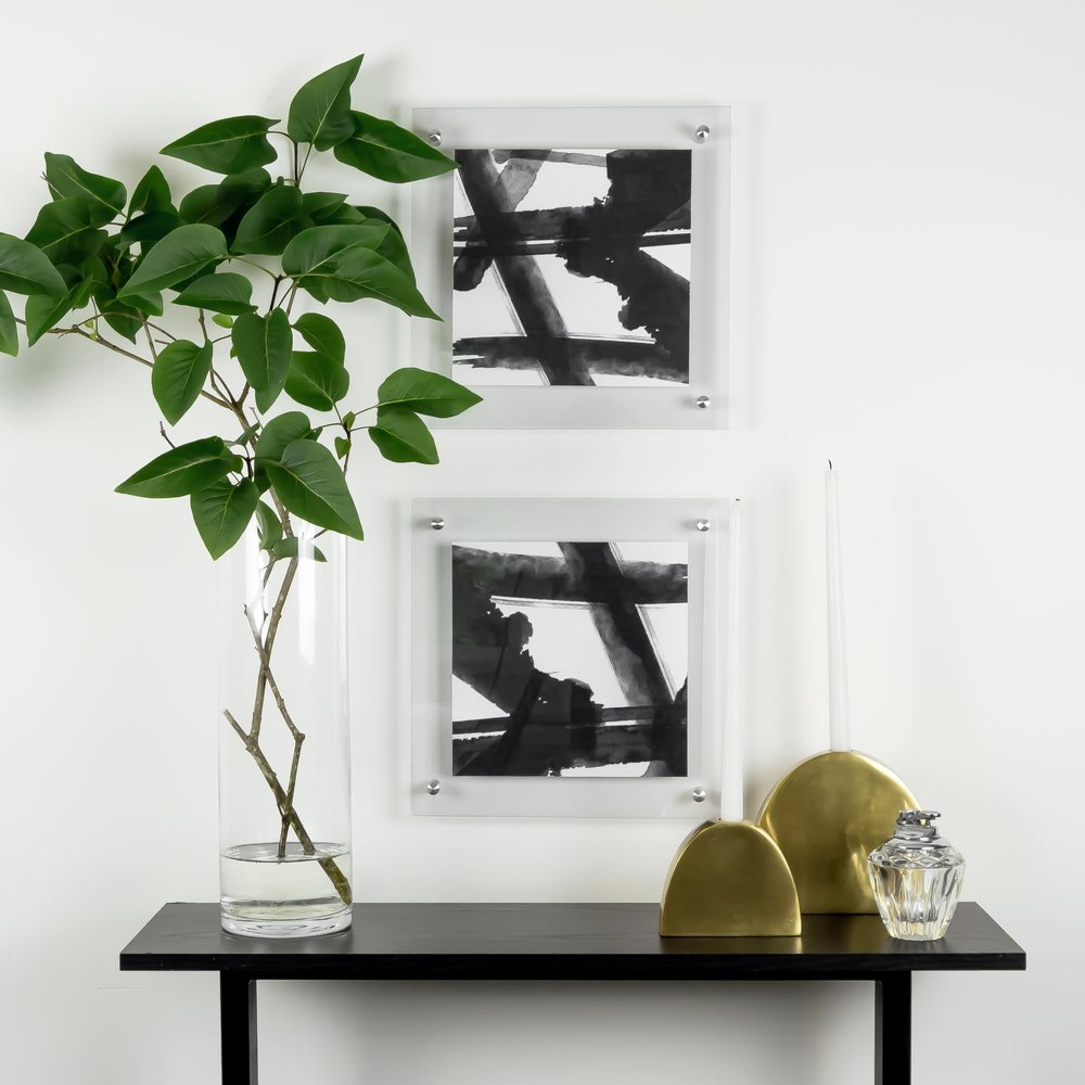 DIY acrylic floating frame and free printable black and white abstract artwork