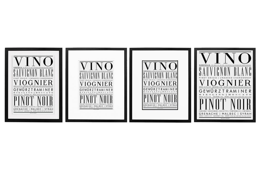Different ways to display framed art in order from left to right; floating, matting, double matting and full bleed | Vino Art Print, The Savvy Heart $24+