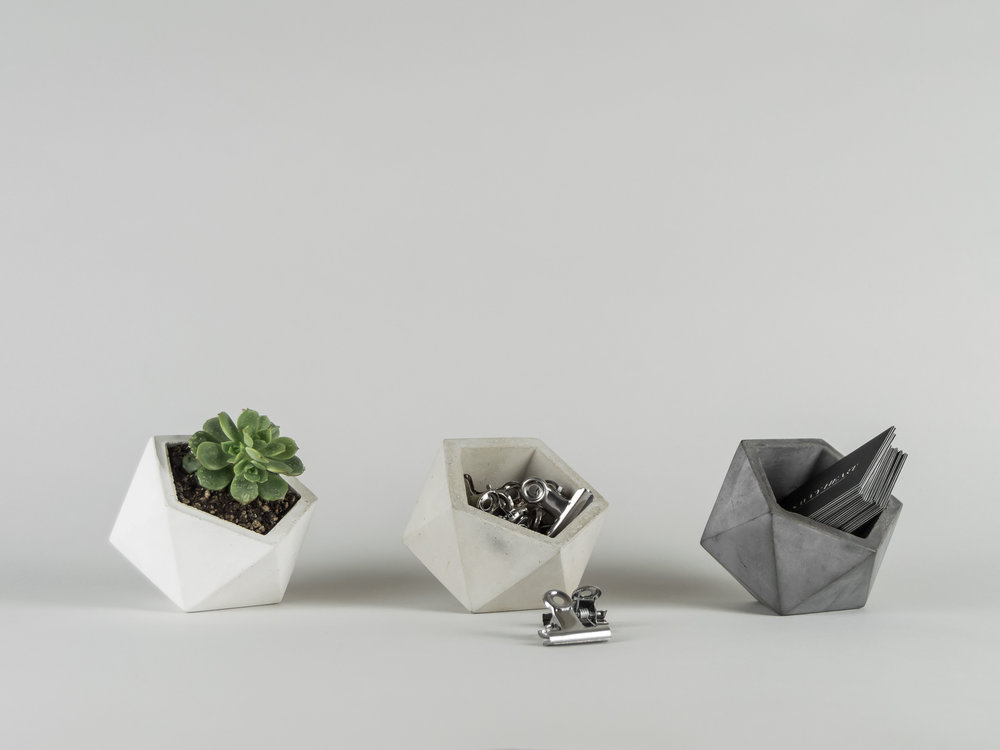 Geometric Concrete Vessels and dishes by The Savvy Heart