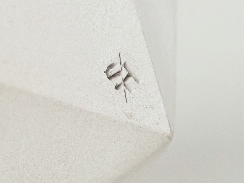 Detail of SH Logo on Concrete Vessel by The Savvy Heart