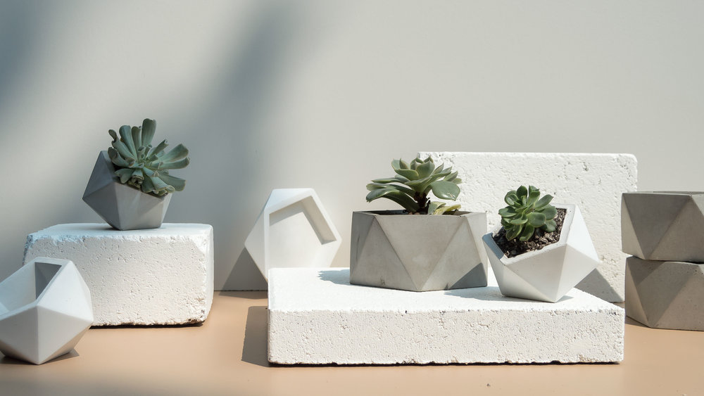 Geometric Concrete Vessels, Catchalls and planters by The Savvy Heart Creative Design Studio