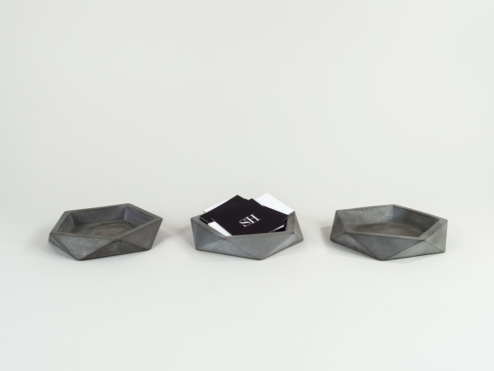 set of three concrete trays by the savvy heart
