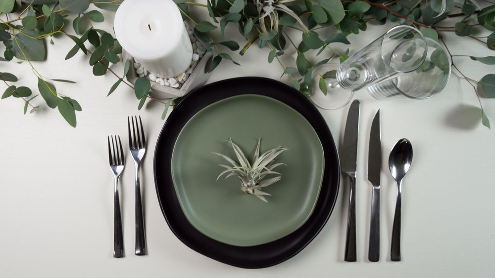 place settings -  silverware and glassware