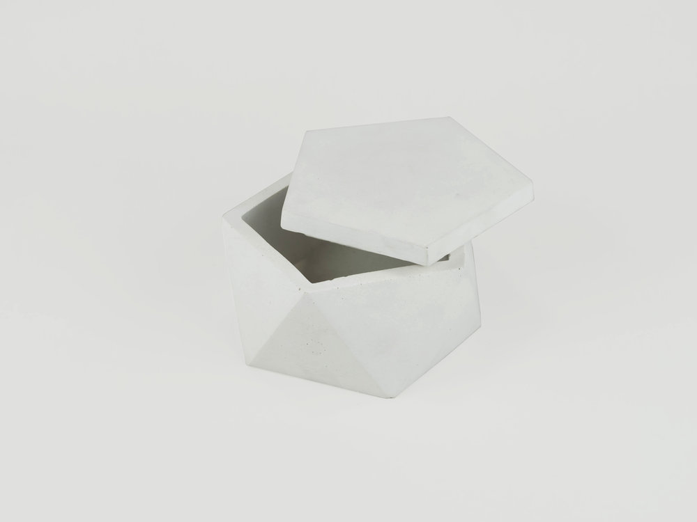 Large Geometric Natural Concrete Vessel with lid in Grey by THe Savvy Heart