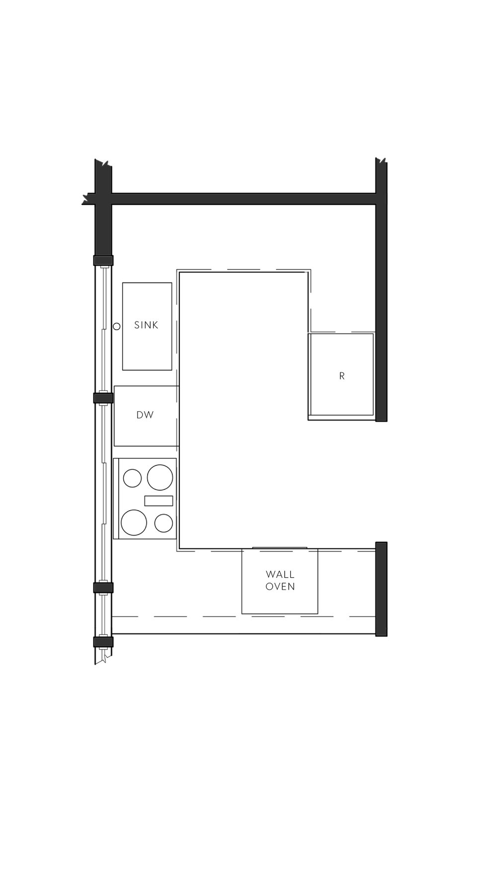 U Shaped Galley kitchen layout Design by The Savvy Heart