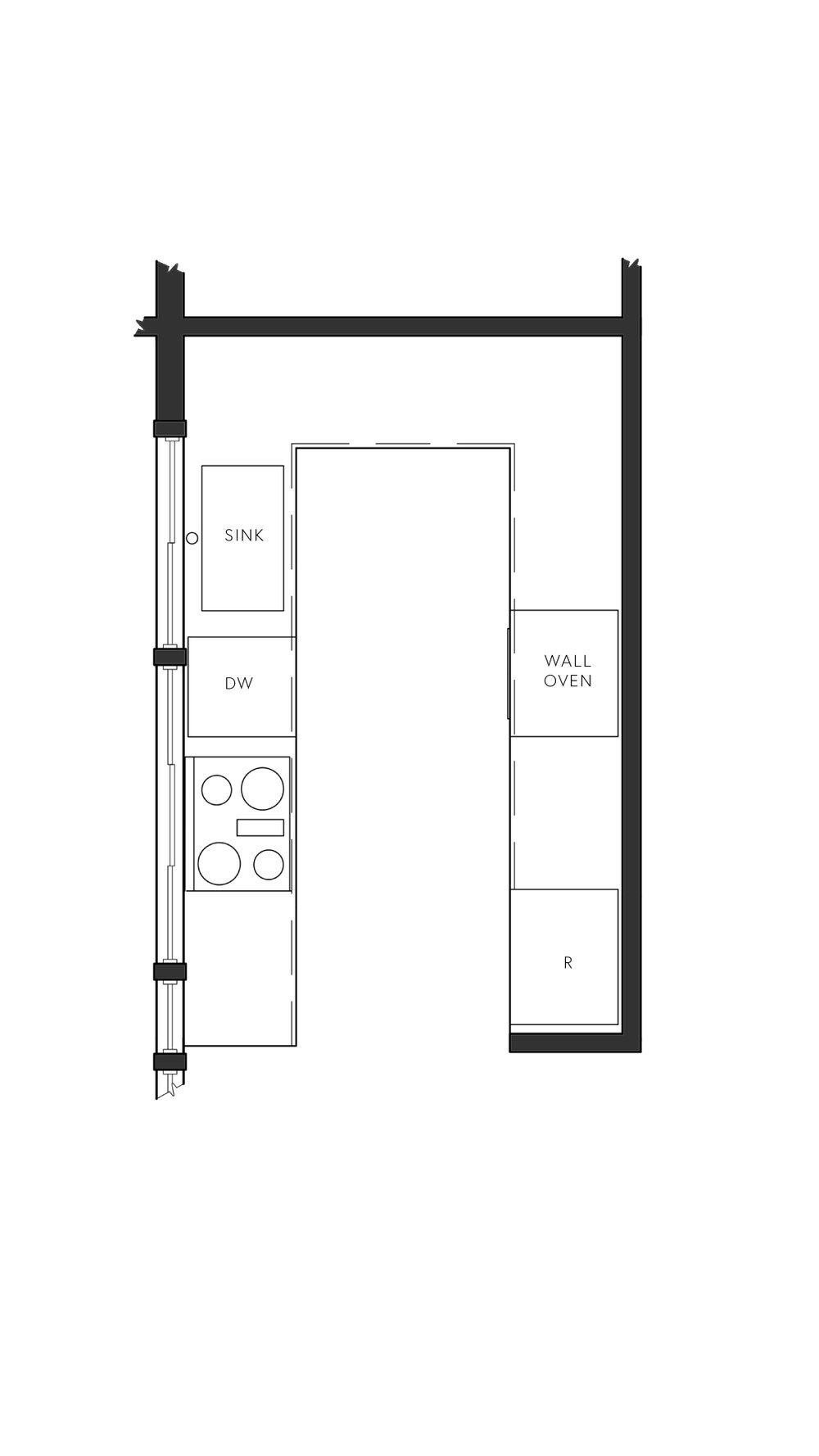 Modern Galley Kitchen Floorplan Layout with appliances and cabinets