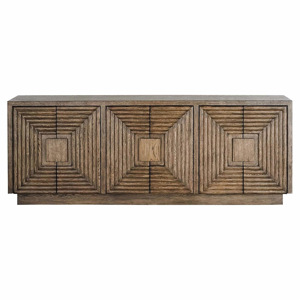Kathy Kuo Home Bronwyn Rustic Lodge Square Pattern Natural Wood Credenza.jpg