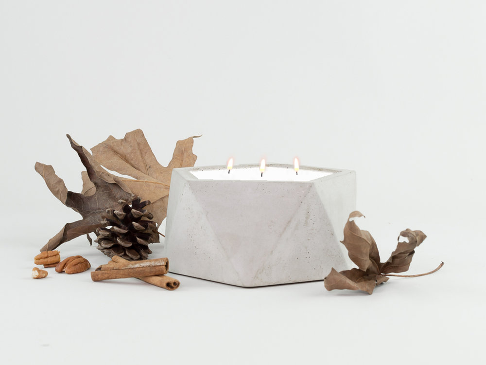 Fallen Leaves Scented Three wick Geometric Concrete Candle