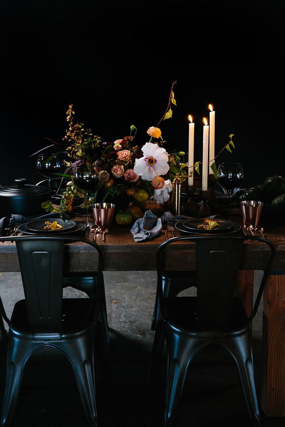 Dark and moody Table setting ideas for thanksgiving dinner by the savvy heart.jpg