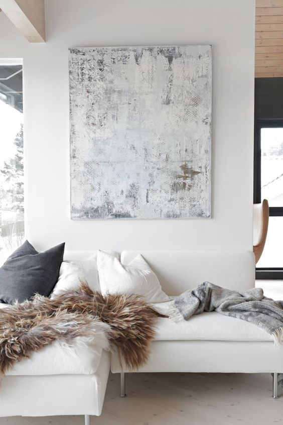 Fall to winter decorating ideas with fur blankets and pillows