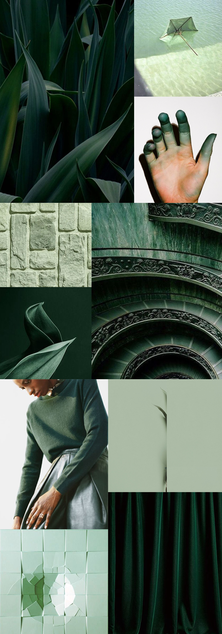 A Seasonal Winter-Mood-Board - Sea of Hunter Green and Mint Color Palette by The Savvy Heart
