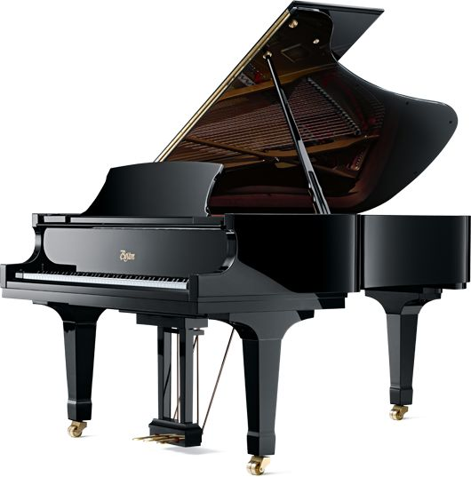 black mini grand piano for a large rectangular great room design.jpg