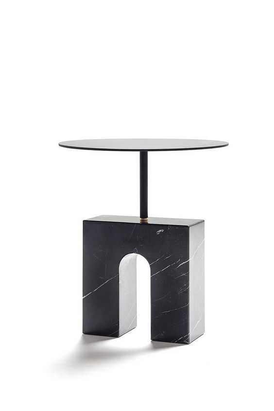 Circlular glass and black geometric slab marble side table for a contemporary living room design