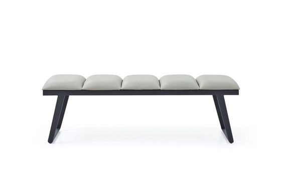 Faux leather white bench with black wood for a contemporary living room design.jpg
