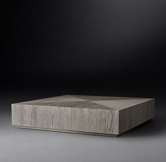Restoration hardware modern wood slab square coffee table for a contemporary great room.jpg