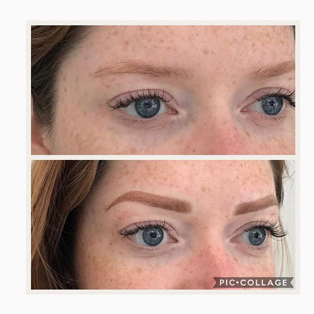 Is this even possible to be this pretty? I can NOT with this client and Yuliia's work. AMAZING!!! So so proud xoxo book your free #microblading consult with yuliia today, call 703-845-7546