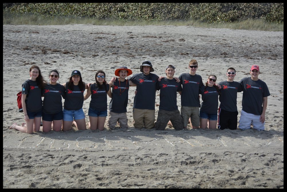 The team at our trip to Juno Beach, Florida in January 2017.We learned about marine life, collected harmful debris on the beaches, and met our adopted sea turtle Waffle at the Loggerhead Marinelife Center.